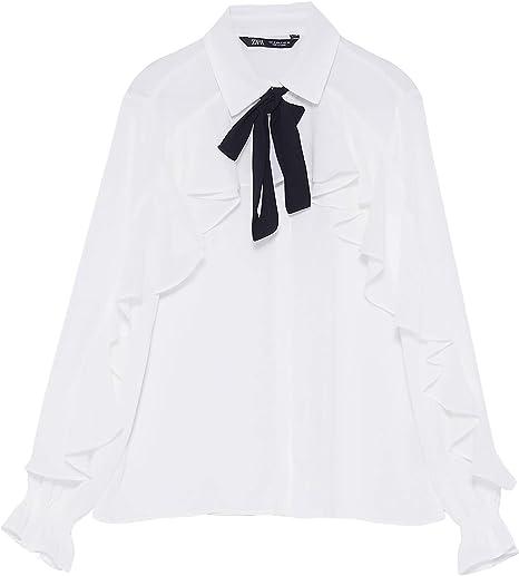 Zara 3666/181 blusa con volantes para mujer con lazo - Blanco ...