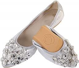 Lauthen.S Women Foldable Ballet Flats, Pointed Toe Wedding Rhinestone Slip on Flat Shoes