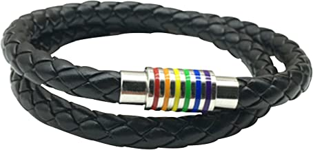 Nanafast Titanium Stainless Steel Magnet Rainbow LGBT Pride Handmade Braided Bracelet PU Leather Weave Plaited Jewelry