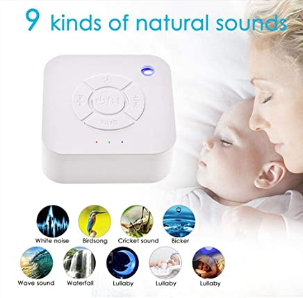 White Noise Machine, lesgos USB Recharge Mini Sleep Sound Machine with 9 Relaxing Nature Sounds, LED Breathing Light Timer for Baby/Kids/Adult/Insomniac/Travel/Home/Office Sleeping & Relaxation