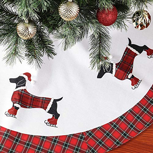 QinYing Christmas Decorations Apron Christmas Tree Skirt with 5 Dogs Pattern,Holiday Tree Ornaments for Christmas Home Decorations