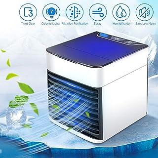 ASSDITED Mini Enfriador de Aire, 3 en 1 USB Mini Refrigerador de Aire Acondicionado y Humidificador 7 Colores Purificador Evaporativo Ventilador de Escritorio para Oficina, Hogar, Dormitorio, Viajes