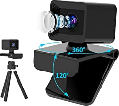 1080P Webcam with Microphone&Tripod, 2020 Latest USB Plug and Play Computer Web Camera, 120 Degree Widescreen for Conferen...