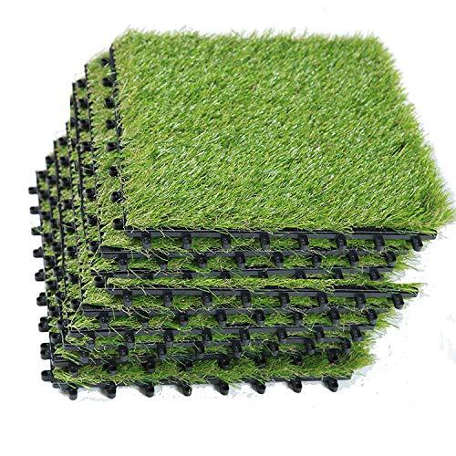 EcoMatrix Kunstrasenfliesen PP ineinandergreifend Kunstrasen Teppich Terrassenfliese Kunstrasen Rasen Fliesen Innen Außen Boden Deck Grün Rasen Matte 3,8 x 2,5 cm 1\'x1\' grün