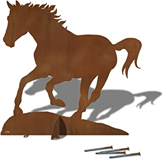 Cold Nose Creations Large 36in Wide Running Horse Silhouette Sturdy Metal Yard Art, Garden Statue, or Lawn Ornament