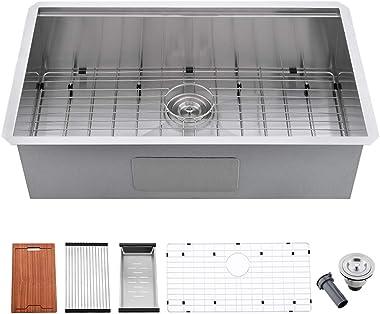 Undermount Kitchen Sink Stainless Steel-Bokaiya 30 Inch Undermount Sink Workstation 16 Gauge T 304 Stainless Steel Undermount