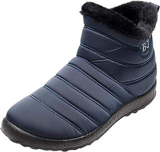 [花千束_シューズ] レディース 冬 無地 暖かい 防寒 アンクルブーツ ベルベット スノーブーツ 厚底 雪ブーツ 裏起毛