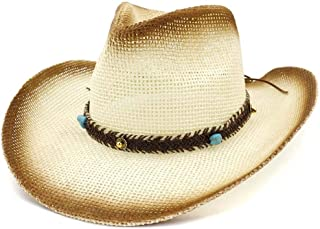 Bin Zhang Fashion Summen Sun Hat Spray Paint Straw Cowboy Hat Outdoor Sun Hat Leather Braid With Turquoise Beach Hat