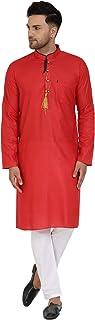 SKAVIJ Men's Cotton Kurta Pajama Indian Casual Festive Season Dress Set