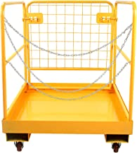 Sidasu Forklift Safety Cage 1150LBS Capacity with 4 Universal Wheels Forklift Work Platform 36x36 Inches, Forklift Aerial ...