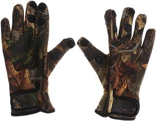 Homyl Luvas de pesca com 3 dedos cortados à prova de escorregões e proteção solar para pesca e caça, ciclismo