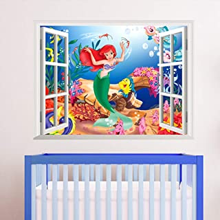 """ufengke home Colourful Mermaid Underwater Cartoon Wall Art Stickers Disney Inspired """"Under the Sea"""" Wall Decal 3D Effect View Outside the Window Removable DIY Mural for Nursery, Children's Bedroom"""