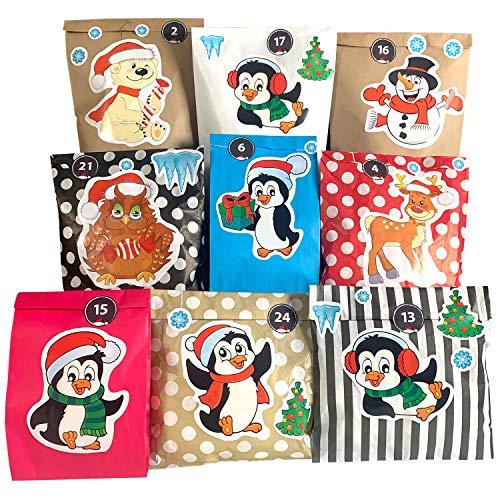 endlosschenken Adventskalender für Kinder mit 24 Papiertüten weihnachtlichen Aufklebern zum Basteln (Nr. 7)