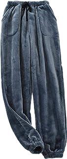 Mens Flannel Pyjama Bottoms Fleece Sleepwear Lounge Pants with Pockets