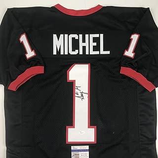 Autographed/Signed Sony Michel Georgia Black College Football Jersey JSA COA