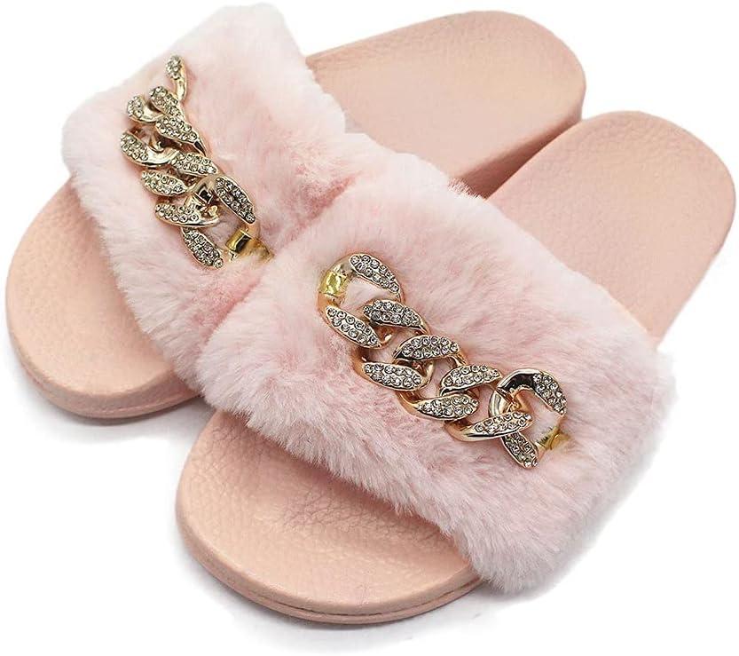 HSHOR Womens Fluffy Sliders Cute Plush Open Toe Flip Flops Flats Sandals Comfortable Outdoor Slippers (Color : Pink, Size : 39EU)