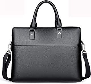 "KEHUITONG Men's Leather Briefcase - Men's Leather Briefcase Crossbody Bag, Laptop Bag 14"", Waterproof Travel Tote Bag Business Vintage Shoulder Bag Toothbrush, comfortable electric toothbrush, easy"