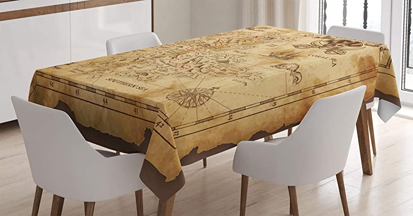 Ambesonne Island Map Decor Tablecloth, Super Detailed Treasure Map Grungy Rustic Pirates Gold Secret Sea History Theme, Rectangular Table Cover for Dining Room Kitchen, 52x70 Inch, Beige Brown