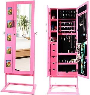 Fanuosu Armoires à Bijoux Miroir Armoire Bijoux Miroir miroirs Colliers Bracelets (Couleur : Rose, Taille : 153 * 48.5 * 1...