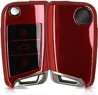 kwmobile Funda para Mando Compatible con VW Golf 7 MK7 Llave de Coche de 3 Botones - Funda TPU Llave con Botones de Llave de Auto - Rojo Brillante