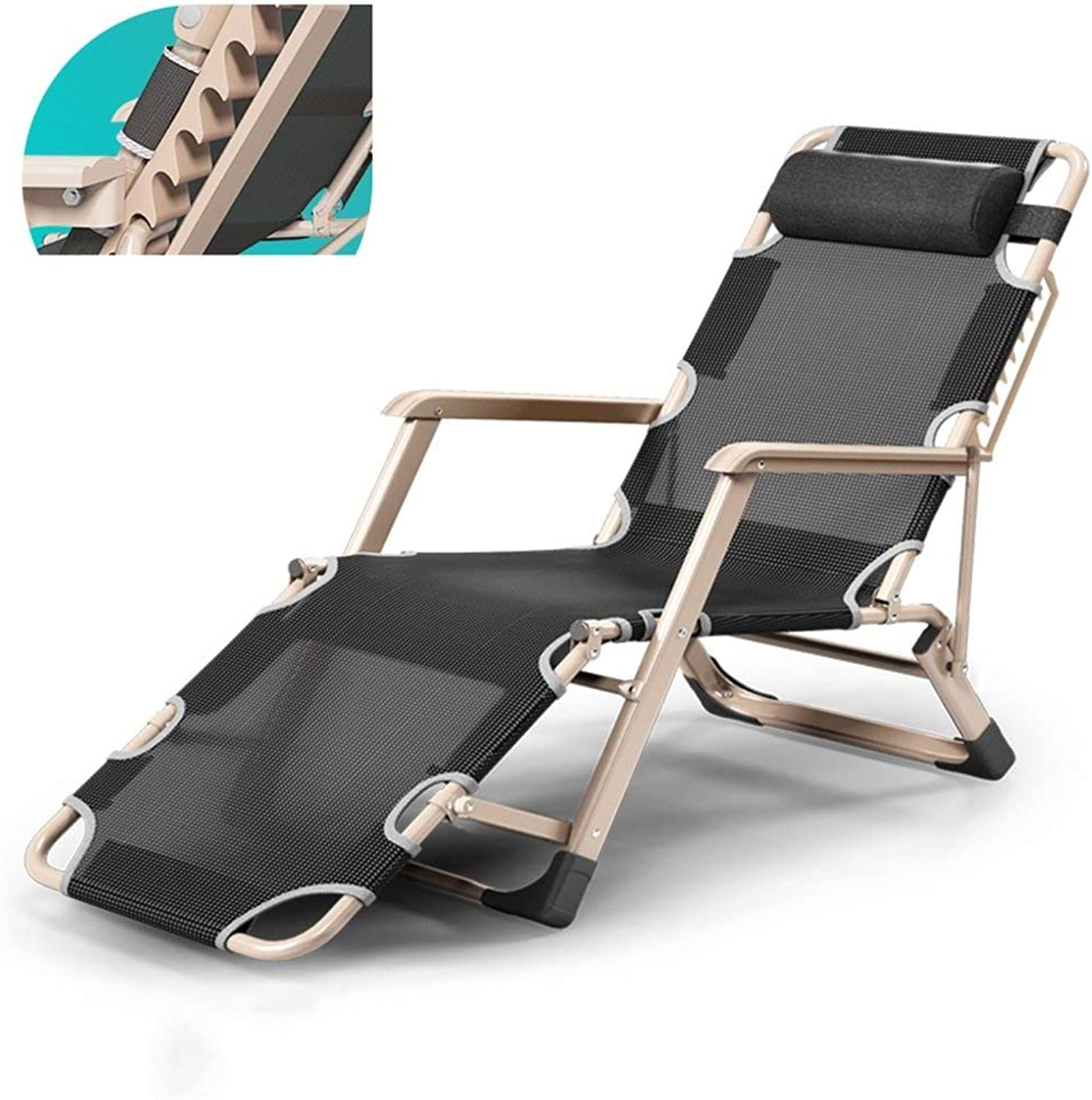 Folding Lounge Chair Portable Office Siesta Chair Summer Beach Chair Adjustable Sun Loungers Garden Lounge Chair Outdoor Camping Chair Removable Mat Black (color   A)