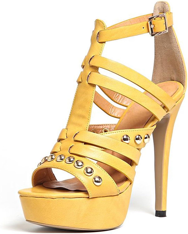 Kaloosh Women's Rome Thin High Heel Rivet Buckle Strap Platform Gladiator Sandals