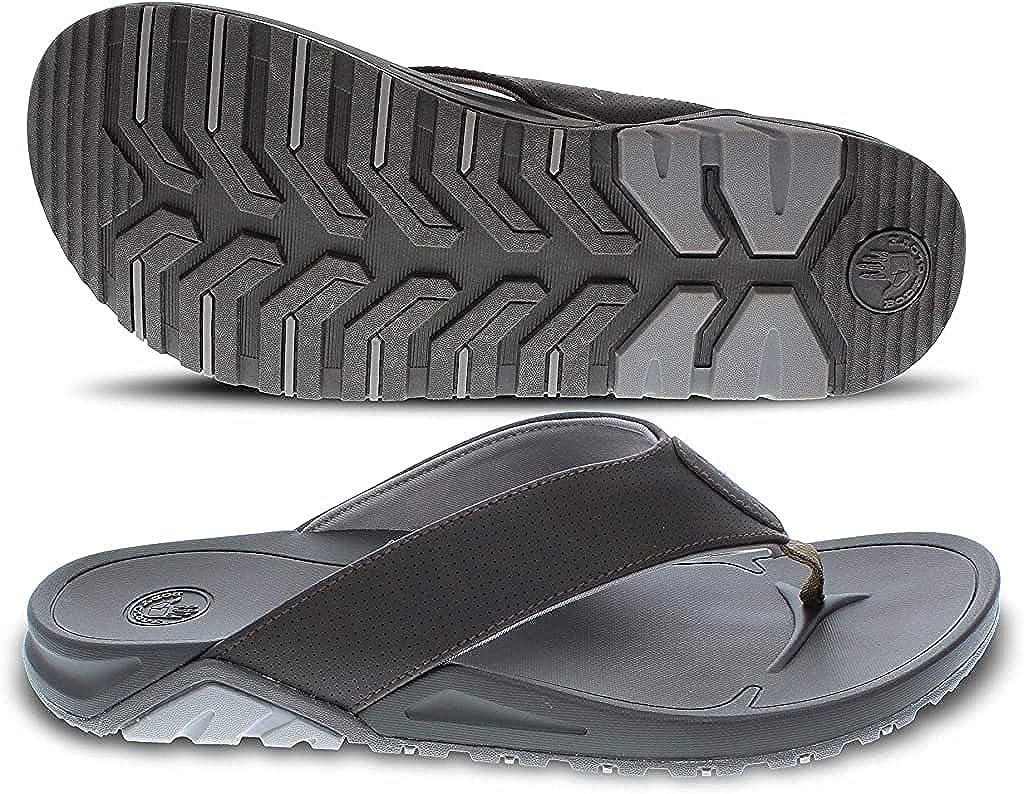 Body Glove Ridgeline Arch Mens Sandals with Comfortable Arch Support, Mens Flip Flops & Beach Sandals for Men with Arch Support and Lined Strap, Brown Flip Flops for Men