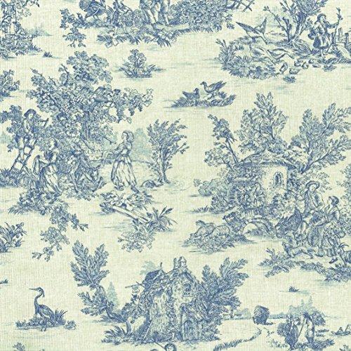 Tela Toile de jouy 'La Vie Rustique' (Azul Oxford Sobre un Fondo de Aspecto de Lino) - 100% Algodón Suave | Ancho: 155 cm (por Metro Lineal)*