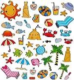 alles-meine.de GmbH 42 TLG. Set Sticker / Aufkleber - Urlaub Sommer Strand Meer Badeurlaub Wasser Beach Krebs Fische