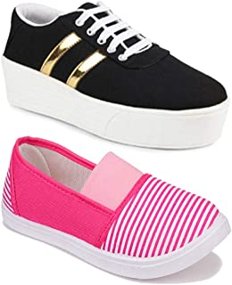 Axter Women Multicolour Latest Collection Sneakers Shoes- Pack of 2 (Combo-(2)-11023-1044)