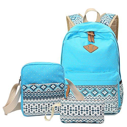 WSLCN Conjunto de mochilas de lona para meninas, mochila escolar com zíper, bolsa de viagem, bolsa de ombro, bolsa de ombro para crianças, bolsa de ombro, laptop, casual, bolsa de ombro, estojo, lápis, asteca, 3 peças, Bleu