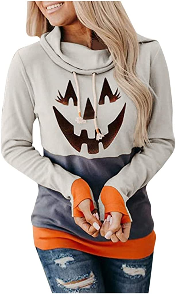 nunonette Pullover Hoodies for Teens?Womens Halloween Sweater Funny Print Drawstring Long Sleeve Casual Hooded Sweatshirt Top