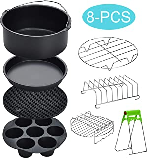8 inch Air Fryer Accessories for Gowise USA Cozyna Airfryer XL 5.3QT – 5.8QT, Deluxe Deep Fryer Accessories Set of 8/12 (8)