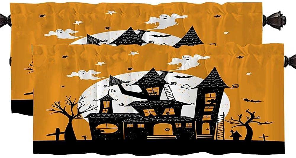 Halloween Window Valance Douecish Blackout Fall Farmhouse Valanc