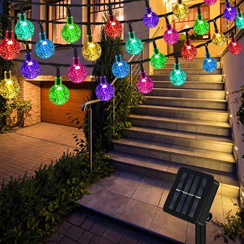 Lichterkette Solar Aussen, Vegena Bunt LED Lichterkette Außen Kristall Kugel 12M 100 LEDs 8 Modi IP65 Wasserdicht für Garten Bäume Terrasse Hof Haus Weihnachten Party Deko Energieklasse A+++