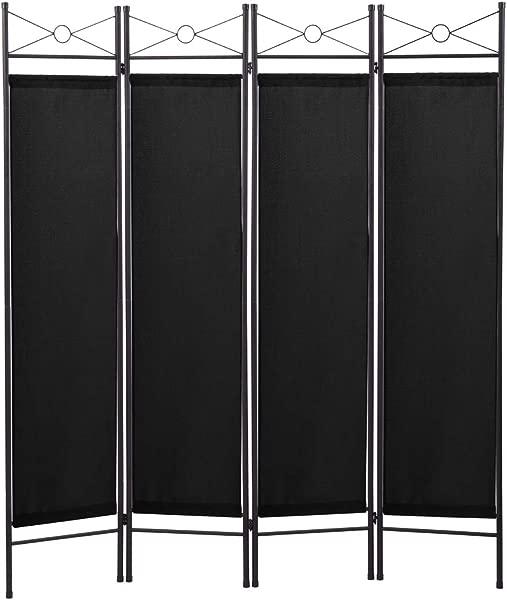 4 Panel Room Divider Folding Privacy Screen Steel Frame Freestanding Partition Divider For Office Living Room Black