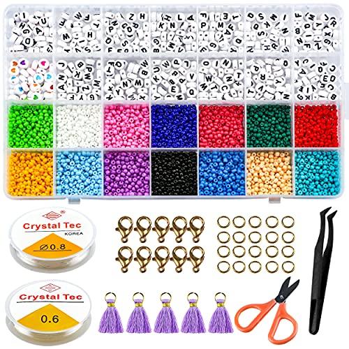 Perline Vetro, MOCOBO 28 Tipi 3mm Mini Perle di Braccialetti, Perline Lettera Colorate con Filo Elastico, Perline per Braccialetti Bambini, per Fare Gioielli