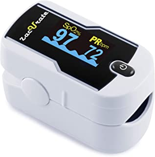 Zacurate Premium Fingertip Pulse Oximeter Oximetry Blood Oxygen Saturation Monitor with silicon cover batteries and lanyard