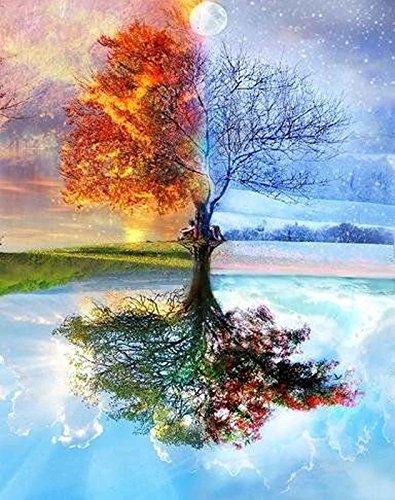 Kit de pintura al óleo para adultos DIY para niños principiantes, árbol de la vida de las cuatro estaciones, 40,6 x 50,8 cm