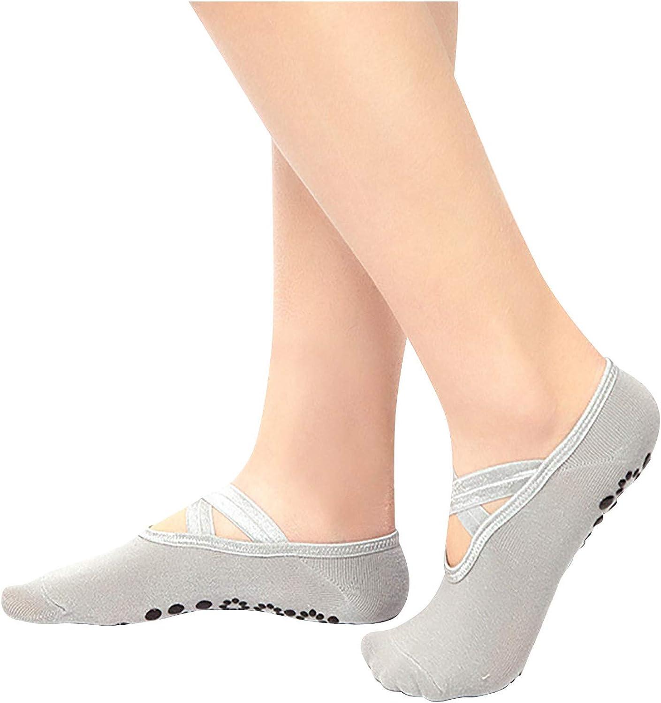 Round Head Yoga Socks Women's Casual Sock Slip Open Back Cross Stocking Yoga Socks Dance Socks