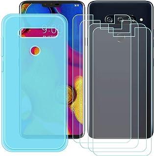 YZKJ Fodral för LG V40 ThinQ Cover blå silikon skyddande skal TPU skal skal skal skal + 4 stycken pansarglas skärmskydd fö...