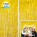Moohome 2 Pack 3ft x 8ft Gold Foil Curtains Metallic Tinsel Fringe Curtains Shimmer Door Window Curtain Backdrop for Birthday Wedding Bridal Shower Baby Shower Halloween Photo Booth Party Decorations