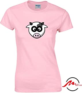 ZMvise Milk Cow Head Pattern Novelty Cotton Tee Unisex Adult Youth Tshirt Quote T-Shirt