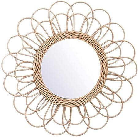 RecoverLOVE Miroir en rotin Fleur, Color Naturel Miroirs muraux Penderie décorative Miroir avec rotin Naturel Art Déco Miroir Rond Salon fixé au Soleil en Forme de Miroir Forme de Cercle