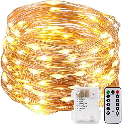 Kohree 10M LED Lichterkette Batterie mit Timer Fernbedienung 8 Modi Wasserdicht 100LED Kupferdraht Innen Lichterketten Außen Dekoration für Weihnachten Weihnachtsbaum Zimmer Garten Warmweiß