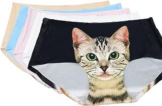 BOBORA 5枚セット 下着 ショーツ レディース セット 猫プリント シームレス 見せパン パンツ 無縫製 丈普通 響きにくい レギュラーショーツ 3D猫パンツ ランジェリー ブリーフ M/L