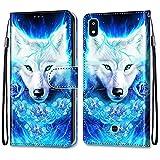 nancencen Kompatibel mit LG K20 2019 Handyhülle, PU Leder Flip Cover Wallet Hülle (Anti-Fall) für LG K20 2019 - Weißer Wolf