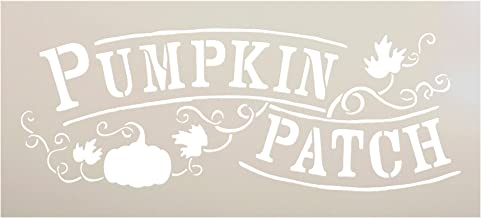 "Pumpkin Patch Stencil by StudioR12 | Hand-Drawn Vines and Leaves | Reusable Mylar Template | Painting, Chalk, Mixed Media | Use for Wall Art, DIY Home Decor - Choose Size (12"" x 5"")"