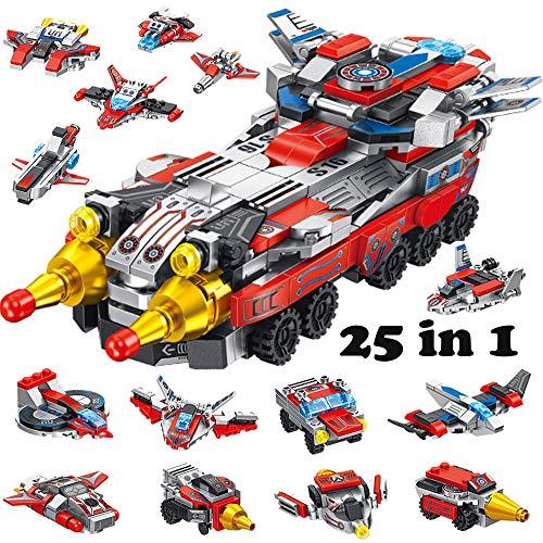 Yetech Weltraumkämpfer Bausteine Spielzeug für Jungen, 25-in-1 STEM Gebäude Lernspielzeug Flugzeug Auto Baukasten,Pädagogisches Geschenk für Kinder 6-10 Jahre
