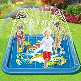 Peradix Splash Pad 170cm Sprinkler Wasser-Spielmatte Splash Play Matte Sommer Garten Wasserspielzeug Baby Pool Pad Spritzen für Outdoor Familie Aktivitäten/Party/Strand/Garten (Blaues Quadrat, 170cm)